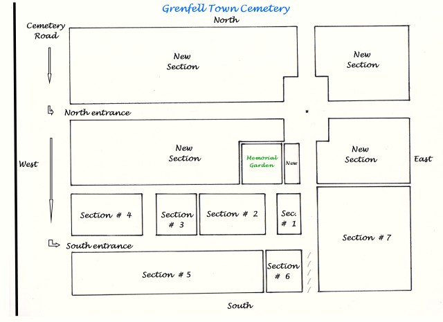 Grenfell Cemetery section location map