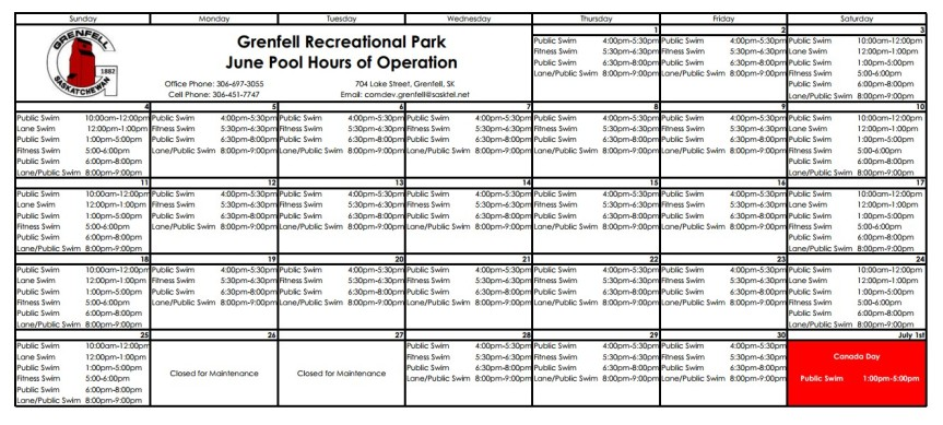 June 2017 GRP Pool Hours of Operation