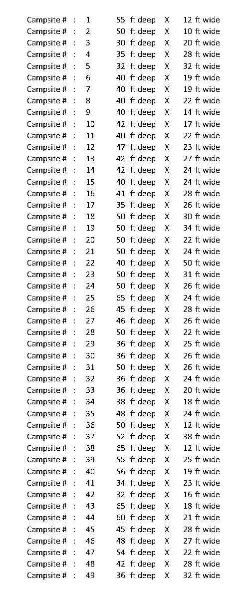 Campsite dimensions