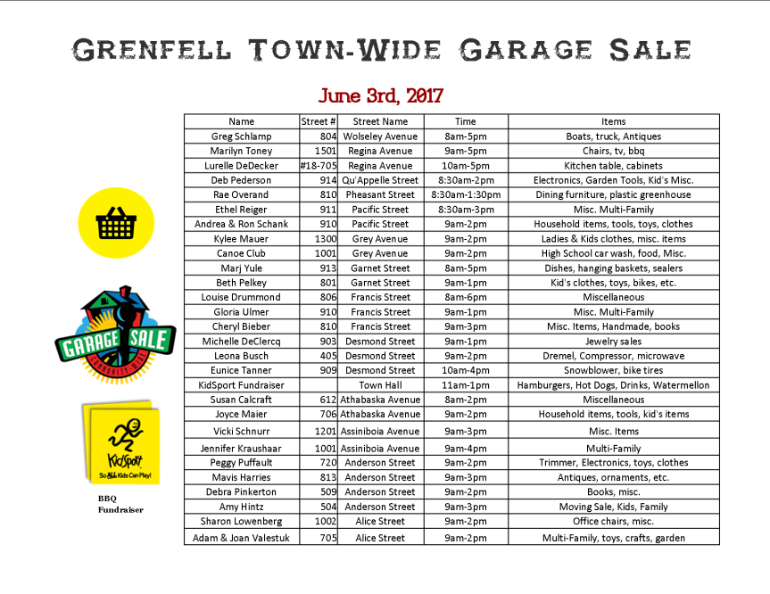 2017 Garage Sale Map