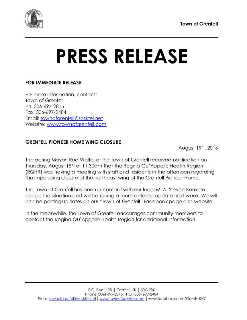 Town of Grenfell Press Release August 18th, 2016