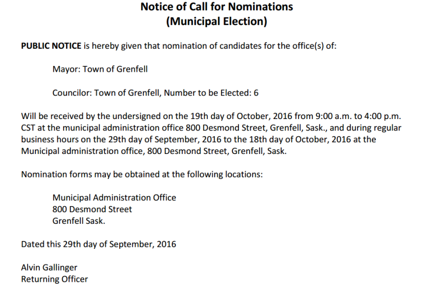 Notice of Call forNominations